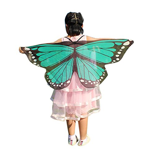 Child Kids Butterfly Wings Girls Bohemian Butterfly Print Shawl Unisex Children Pashmina Costume Accessory ICODOD(Green)