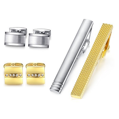 HONEY BEAR Rectangle Cufflinks Tie Clip Set for Men Shirt Wedding Gift Silver Gold Without Box