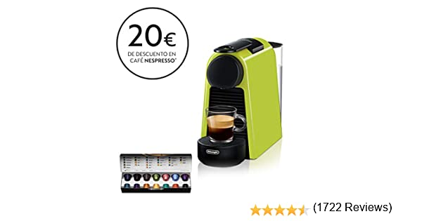 Nespresso DeLonghi Essenza Mini EN85.L - Cafetera monodosis de cápsulas Nespresso, compacta, 19 bares, apagado automático, color lima: Amazon.es: Hogar