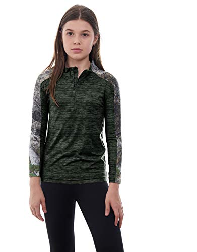 Shadow Half Zip Pullover - Kid's Mossy Oak Camo Impulse 1/4 Zip Performance Top - Moisture Wicking, 4 Way Stretch - Perfect Outwear and Fitness Apparel