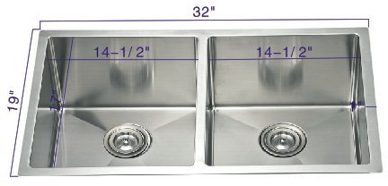 19' Undermount Sink (R321955 32''19''10'' Undermount 50/50 Radius Bowl 18 Gauge Stainless Steel Hand Made Sink)