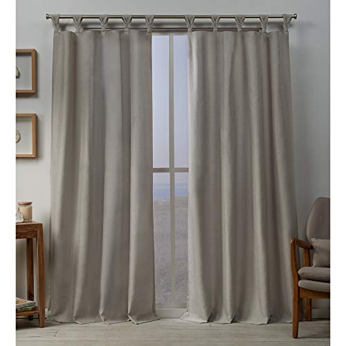 Exclusive Home Loha Linen Braided Tab Top Curtain Panel Pair, Beige, 54x96, 2 Piece
