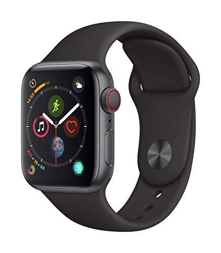 Apple Watch Series 4 (GPS + Cellular, 40mm) - Space Gray Aluminium Case with Black Sport Band (Renewed) (Phones Spire C)