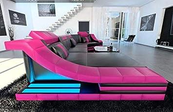 Sofa Dreams Leder Wohnlandschaft Turino C Form Schwarz Pink Amazon