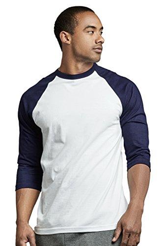 - TOP PRO Men's 3/4 Sleeve Casual Raglan Jersey Baseball Tee Shirt (M, NVY/WHT)