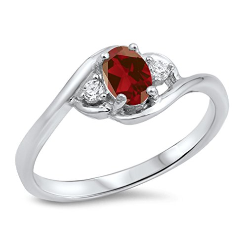 925 Sterling Silver Round Faceted Natural Genuine Red Ruby Oval Cluster Ring Size 8 (Ruby Cluster Ring)