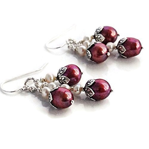 - Sterling Silver Cream and Red Cultured Freshwater Pearl Cluster Dangle Drop Earrings Gift for Her