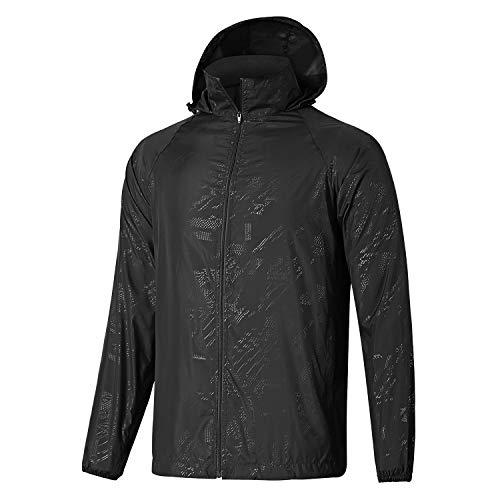 GEEK LIGHTING Windbreaker for Men, Outdoor Zipper Waterproof Lightweight Raincoat Windbreaker with Hooded (Black, Large) -