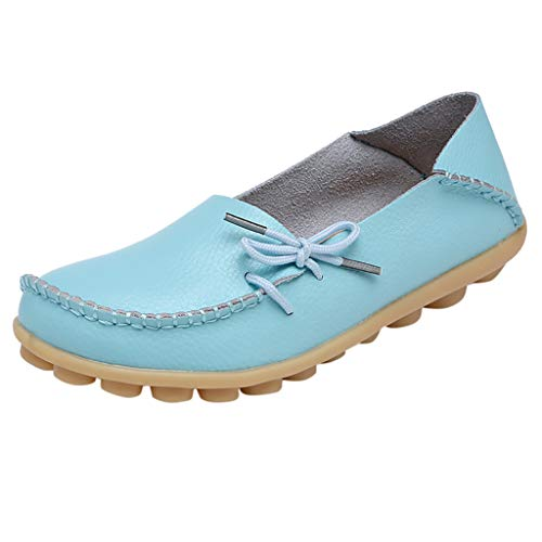 Flat Loafer for Women,SMALLE◕‿◕ Women's Leather Loafers Flats Casual Round Toe Summer Moccasins Wild Driving Shoes Light Blue ()