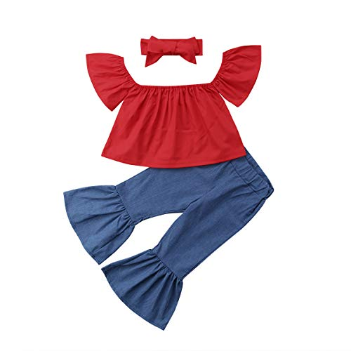 - Toddler Baby Girl Kids Color Block Off-Soulder Top Bell Bottom Jeans Outfit Set (Red+Blue, 12-18 Months)