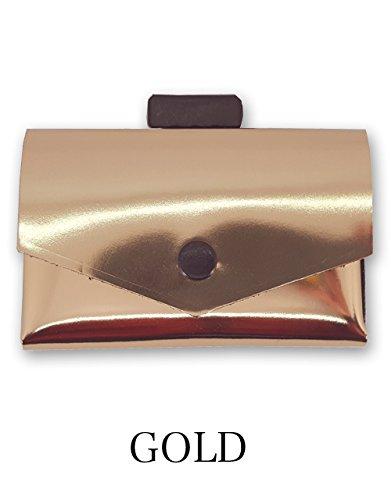 [com-ono] 【TINY-001】 革製品に異素材であるゴムを使用した、今までにない発想から生まれた次世代のミニマムウォレット B07DCBF3R7 ゴールド ゴールド