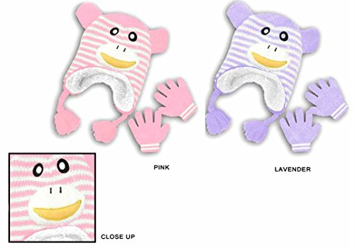 Baby Girl Kids Toddler Cute Fuzzy Gloves and Hat - Monkey Designs (Pink) by Convenient Bundles (Image #1)
