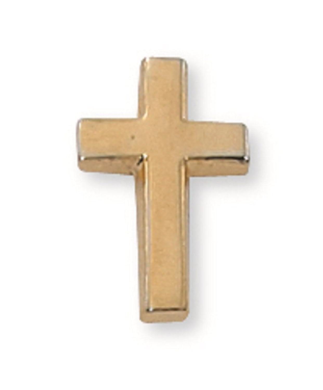 Men's Gold Toned Cross Lapel Pin