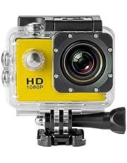 كاميرا مقاومة للماء مناسبة للرياضات والحركة عالية الجودة 1080 بكسل و30 ميجا دي في مع اكسسوارات بلون اسود