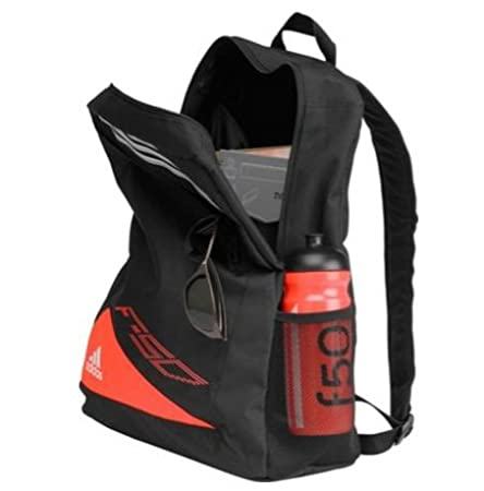 abc02ee11fe Adidas F50 Backpack and Water Bottle - Black and Red, With 1 external  pocket and Adjustable shoulder strap, Size H43, W32, D15cm.  Amazon.ca   Sports   ...