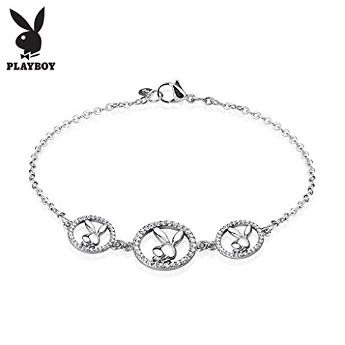 - Three Round Multi Paved Gemmed Playboy Bunny Logo Stainless Steel Chain Bracelet (Length: 7.28