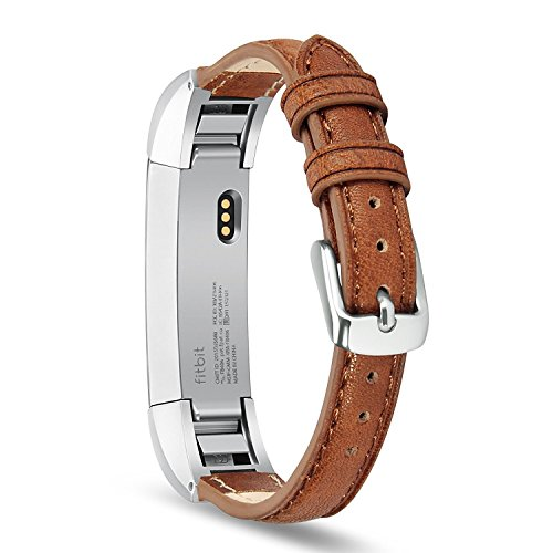 Fitbit Alta HR and Alta Band, Benuo [Vintage Series] Premium Genuine Leather Strap, Classy Replacement Band with Metal Buckle Clasp, Adapters for Fitbit Alta Smart Fitness Tracker ( Bright Brown)