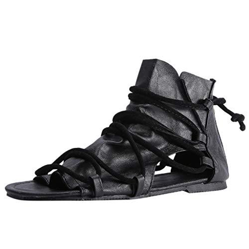 (Copercn Women's Ladies Retro Pleat Leather Multiple Cross Bandage Hollow Out Open Toe Bcak Zipper Ankle Lace-up Thin Heel Flat Sandals Summer Ninja Bootie Outdoor Shoes)