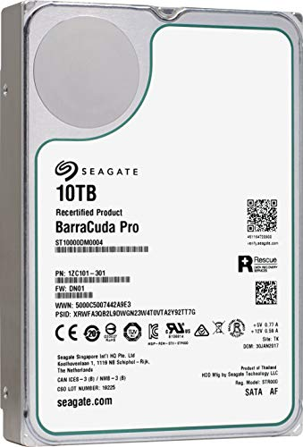 Seagate BarraCuda Pro SATA HDD 10TB 7200RPM 6Gb/s 256MB Cache 3.5-Inch Internal Hard Drive for PC Desktop Computers System All in One Home Servers DAS (ST10000DM0004) (Certified Refurbished) (Best Hard Drive For Home Server)