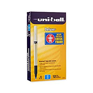uni-ball Deluxe Fine Point Roller Ball Pens, Blue, 12 (60053)