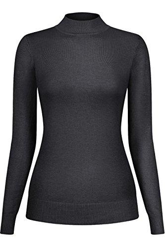 Silk Stretch Mock Neck Sweater - 2LUV Women's Silk Blend Stretch Knit Mock Turtleneck Charcoal M