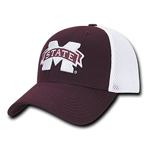University of Mississippi State Bulldogs Mesh Structured Flex Baseball Fitted Ball Cap Hat