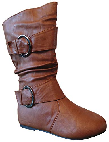 EyesOnStyle New Girls Kids Buckle Slouch Round Toe Midcalf Winter Shoes Boots