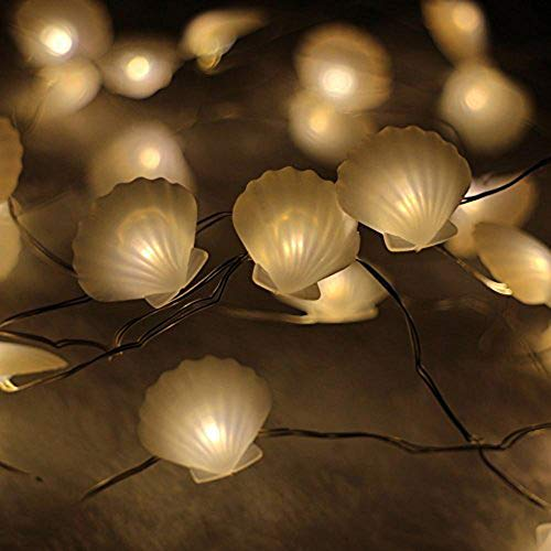 ER CHEN Newest 40 LED Sea Shell,10Ft Long Indoor&Outdoor Waterproof Battery Operated Silver Wire String Lights with Remote&Timer
