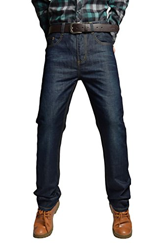 Pinklily Men's Spring Fashion Practical Pockets Bleached Jeans Pants Blue 38