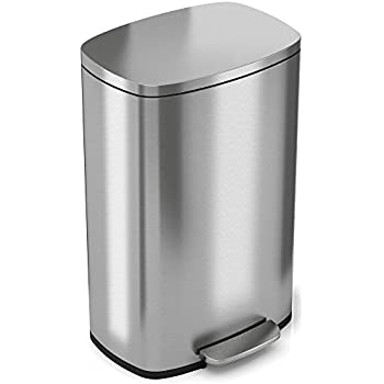 Exceptional ITouchless SoftStep 13.2 Gallon Stainless Steel Step Trash Can, 50 Liter  Pedal Kitchen Trash Can