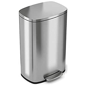 iTouchless SoftStep 13.2 Gallon Stainless Steel Step Trash Can, 50 Liter Pedal Kitchen Trash Can, Removable Inner Bucket, Odor Filter Compartment (Filter Sold Separately)