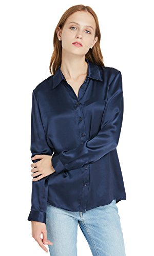 LilySilk Women's 100 Silk Shirts Long Sleeve 22 Momme Charmeuse Button Down Elegant Ladies Tops Navy Blue S/4-6
