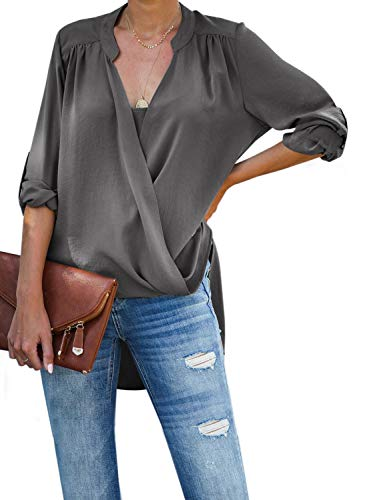 - Dokotoo Womens Plus Size Female Cuffed Long Sleeve V Neck Drape Wrap Front Layered High Low Fashion 2019 Loose Blouses Casual Tops Long Tunic Shirts for Women Gray XX-Large