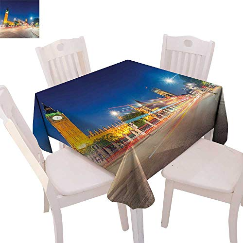 cobeDecor Urban Printed Tablecloth Night View of Big Ben and Westminster Palace Parliament Square London England Flannel Tablecloth 70