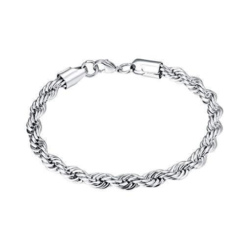 FaithHeart 6MM Twisted Rope Chain Bracelet, 316L Stainless Steel DIY Hip Hop Bracelet for Men/Women, Gift for Mother/Father Customize Available (Send Gift Box)