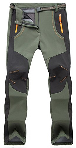 TBMPOY Men's Quick Dry Belted Waterproof Softshell Fleece Ski Pants(02 Thick Green,us - Pant Shell Ski Soft