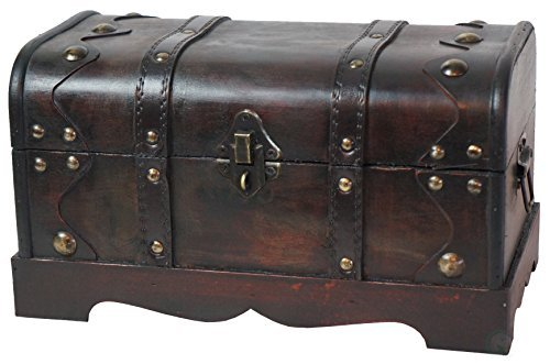 Quickway Imports Small Pirate Style Wooden Treasure Chest...
