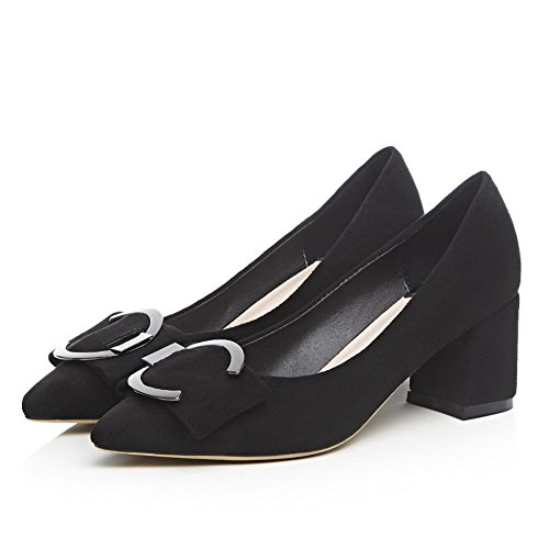 Frosted Black Kitten on Pointed Solid Shoes Toe WeiPoot Pumps Pull Closed Heels Women's RnWq1W5O7