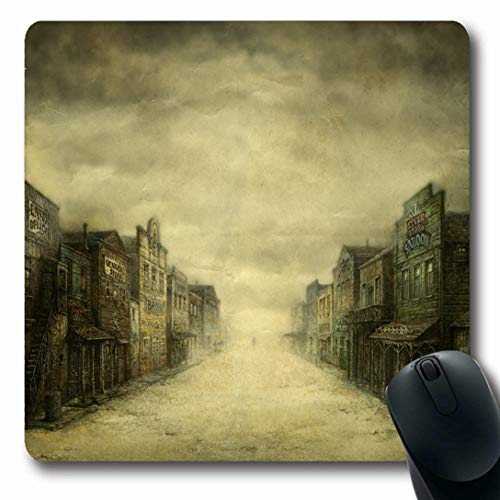 (Ahawoso Mousepads for Computers Saloon Western Wild West Town On Dark Vintage Old Street City Window Oblong Shape 7.9 x 9.5 Inches Non-Slip Oblong Gaming Mouse Pad)