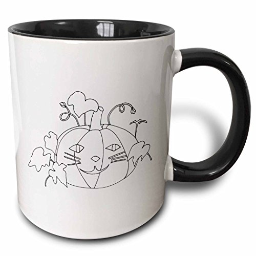 3dRose CherylsArt Holidays Halloween - Outline drawing of a pumpkin with a cute cat face for Halloween - 15oz Two-Tone Black Mug (mug_223208_9) -