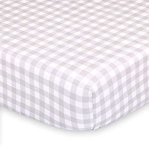 Grey and White Check Fitted Baby Crib Sheet - Farmhouse Collection by The Peanut Shell