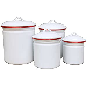 white kitchen canisters enamelware 4 canister set solid white 15439