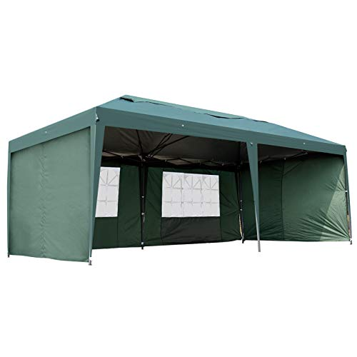 Outsunny Easy Pop Up Canopy Party Tent, 10 x 20-Feet, Green with 4 Removable Sidewalls