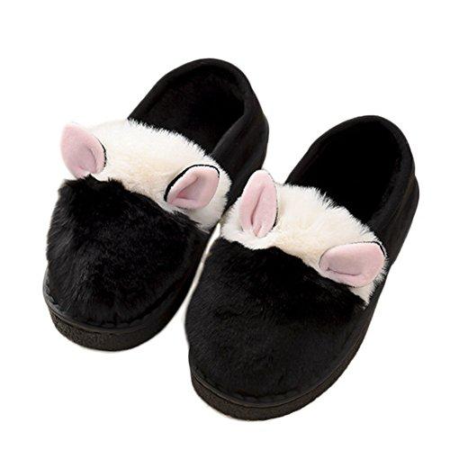 Cybling Zapatillas De Invierno Para Mujer Cute Fuzzy Ears House Zapatillas De Exterior Mocasín Negro