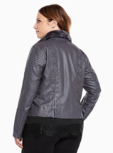 Lace Up Back Faux Fur Collar Moto Jacket
