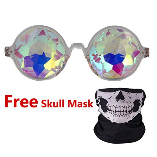 32e6d7415ff0 Festivals Kaleidoscope Rave Glasses Rainbow Prism Sunglasses Goggles Mask  Free -