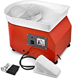 Mophorn Pottery Wheel 25CM Pottery Forming Machine with Sculpting Set Adjustable Feet Ceramic Pottery Wheel 350W Art Craft DIY Clay Tool for Ceramic Work Ceramics Clay