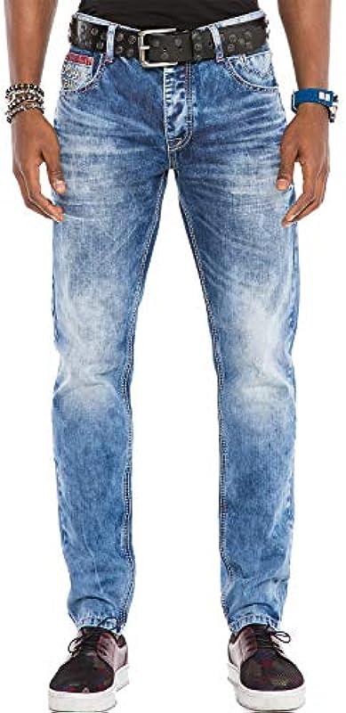 Cipo & Baxx męskie spodnie jeasn Regular Fit Design Denim Pants dżinsy gruby szew niebieski W38 L34: Odzież