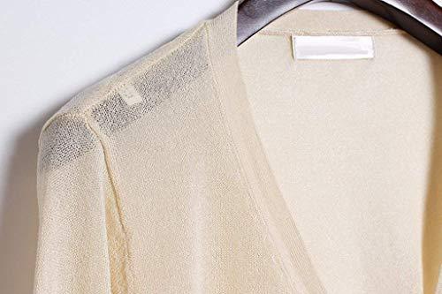 Mujer Manga Solo Abrigos Elegante Battercake Anchas Un Otoño Fashion Mujeres Chaqueta Casual Outerwear Casuales Chaquetas Ligeros Punto Pecho Cómodo Colores Suave Beige Larga Sólidos wCaqn41C5