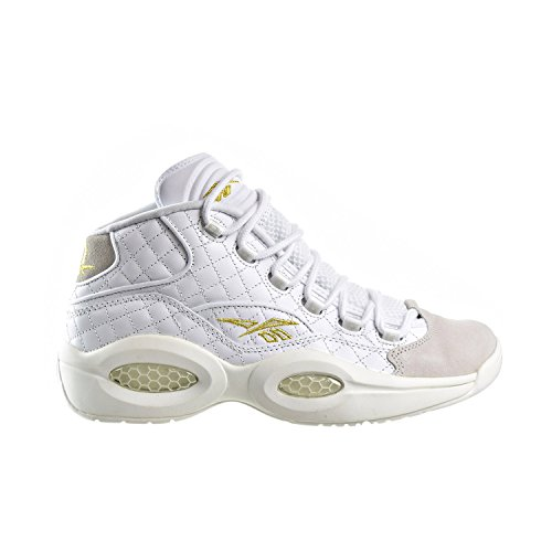 Reebok Question Mid Quilted 'White Party' Men's Shoes White/Chalk/Gold Metallic ar1710 (8 D(M) US)